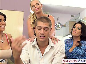 nasty honies Jessica Jaymes, Romi Rain and Phoenix Marie share hard-on