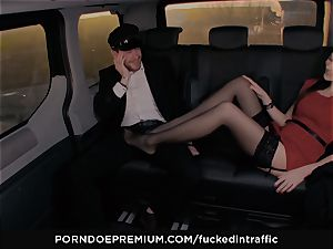 drilled IN TRAFFIC - Footjob and car intercourse with Tina Kay