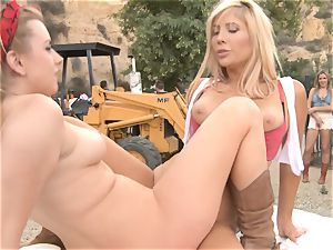 Outdoor cootchie minge eating and pecker throating activity - Lexi Belle Tasha Reign and Blair Williams