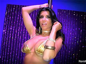 Romi Rain gets insatiable on the stripper pole