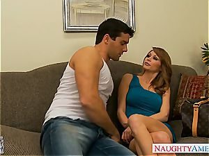 tatted nymph with gigantic fun bags, Monique Alexander, taking a fat cock inwards