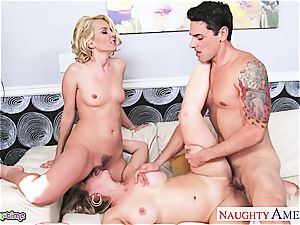 Cherie and Aaliyah make his phat pecker perceive wondrous