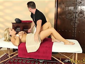 huge-titted ash-blonde kneaded down
