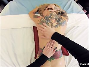 Sarah gets a super-fucking-hot point of view massage and ravage