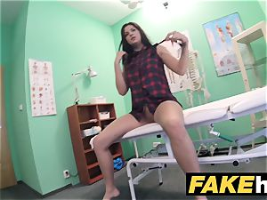 fake polyclinic bashful brown-haired has explosive climaxes