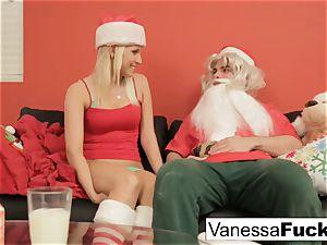 Vanessa letting Santa smash her taut raw beaver
