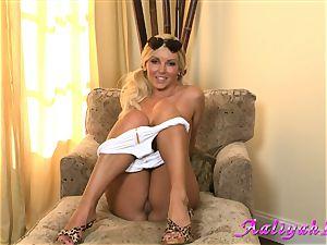 Aaliyah enjoy steaming blond honey in white bathing suit