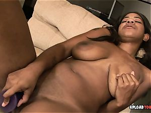 buxom dark-hued sweetheart playing with her snatch