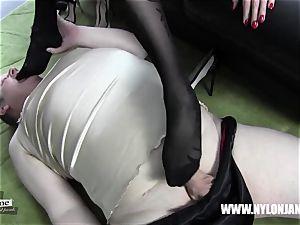 Satin panties nylon sausage foot idolize jerk with cougar
