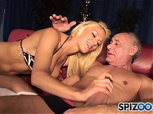 Grandad plays with british light-haired sweetheart Lou Lou