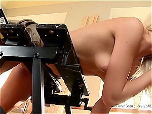 ultra-cute platinum-blonde Andrea Francis deep throating jizz-shotgun with her funbags out