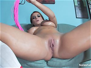busty Natasha lubes up her boobies and plays with her slit