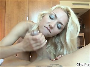 insane blondie pleasing a ginormous pecker with her mitts