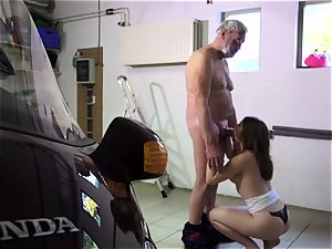 Such an virginal small youthful vulva for elderly naughty fellow