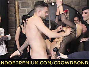CROWD bondage - extraordinary bondage & discipline pummel wheel with Tina Kay