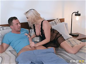 Christie Stevens riding a manhood in her pink pucker