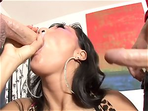Asa Akira is picked up and romped 3some