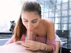 jizm craving Nina North catapults gigantic dick in her adorable honey pot