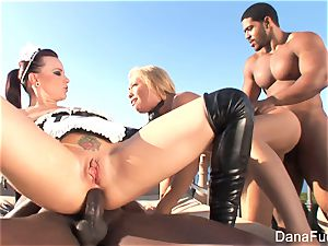 stunners Dana and Brooke have a hardcore multiracial fourway