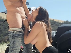 Pumping weenie into Ashley Adams outdoors on a motorbike