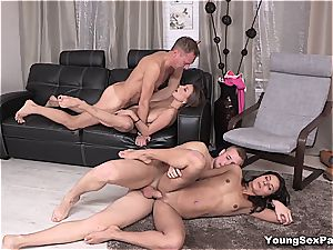 sumptuous youthful Russians having foursome