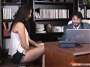 ultra-cute schoolgirl Anna Morna fellates off the headmaster at her college