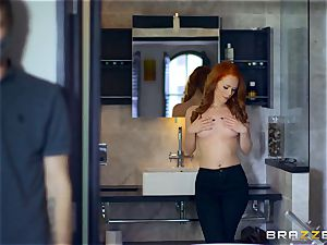 magnificent ginger-haired Ella Hughes plumbed by masked boy