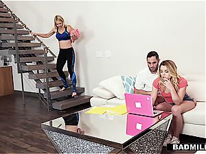 Sarah Vandella penetrates her stepson and his gf