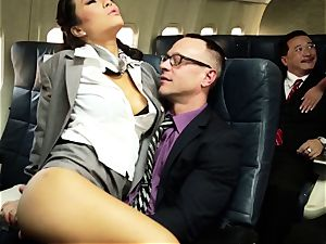 Asa Akira and her hostess buddies plumb on flight