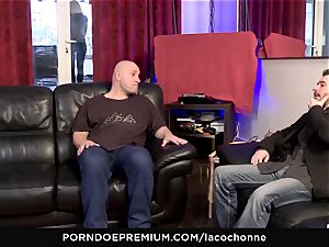 LA COCHONNE - gonzo dp threesome intercourse for huge-titted honey