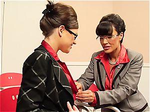 Lisa Ann teasing her coworker's unshaved twat