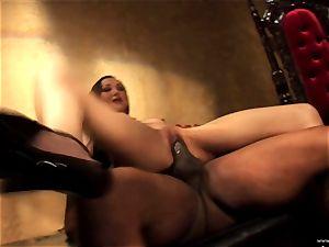Ange Venus getting clamped down on sofa by ebony dude