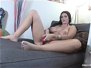 large boobed Alison Tyler plays with her super-fucking-hot moist vulva