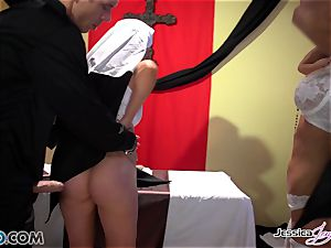 naughty nuns Jessica Jaymes and Nikki Benz pleasuring gods wishes