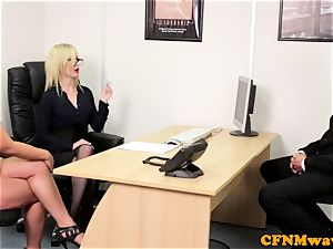european CFNM female dominance deep throating knob in office